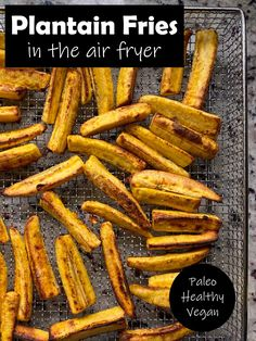 These easy garlic plantain fries are made in the air fryer.  These baked plantains are crisp on the outside and soft in the center.  They are seasoned with salt Best Paleo Recipes, Allergy Free Recipes, Whole 30 Recipes, Real Food Recipes, Cooking Recipes, Plantain Recipes, Baked Plantains, Healthy Meals For Kids