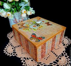 """Купить """"Летнее настроение, бабочки"""" Короб для чая, рукоделия, хранения - винтаж, винтажный стиль, короб"""
