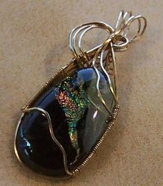 FREE S - Pendant - Unique Wire Wrapped Gold & Dichroic Glass - A JewelryArtistry Original - P129
