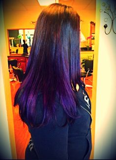 Dark brown to purple ombré! Very cute fantasy color style using Vivids by Pravana! Awesome for new spring hair ideas!