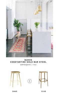 Nuevo Constantine Gold Bar Stool for $449 vs CB2 Flint Gold Bar Stool for $149 Copy Cat Chic luxe living for less budget home decor and design lookforless http://www.copycatchic.com/2016/12/nuevo-constantine-gold-bar-stool.html?utm_campaign=coschedule&utm_source=pinterest&utm_medium=Copy%20Cat%20Chic&utm_content=Nuevo%20Constantine%20Gold%20Bar%20Stool