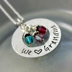 We Love Grandma Necklace - Grandmother Jewelry - Personalized Birthstone Necklace - Grandchildren Necklace - Gift For Grandma - Nana This