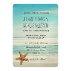 海のビーチ結婚式 12.7 X 17.8 インビテーションカード