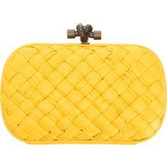 Bottega Veneta Knot Intreccio Memory Clutch ($2,320) ❤ liked on Polyvore featuring bags, handbags, clutches, purses, yellow, women, woven purse, yellow purse, purse clutches and woven handbags