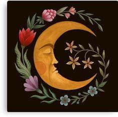 'Midsummer Moon' Art Print by Laorel Gravure Illustration, Illustration Art, Illustrations, Moon Painting, Painting & Drawing, Painting Inspiration, Art Inspo, Art Hippie, Moon Art