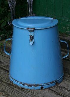 Vintage Light Blue Enamel Flour Tin with Lid & Handles