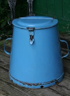 Vintage Light Blue Enamel Flour Tin with Lid & Handles
