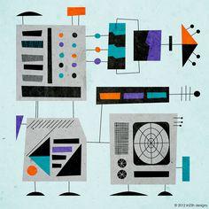 Art 014 - Retro-Atomic style Computer scene made in Illustrator. Buy it here: http://www.zazzle.com/art_014-228904637594305485?rf=238346728040847077