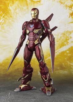 Highly detailed and articulated scale iron Man action figure from Avengers: Infinity War. This Iron Man with realistic nano-weapon attached. Comes with wings and weapon parts attached to both arms and legs. Marvel Avengers, Iron Man Avengers, Marvel Heroes, Iron Man Suit, Iron Man Armor, Kakashi Naruto, Iron Man Fan Art, Lron Man, Marvel Villains