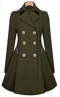 77cea593dad44 Double Button Turn-down collar Slim Plus Size Coat - Meet Yours Fashion - 7
