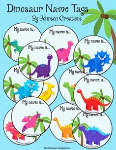 There are twelve different cute dinosaur name tags in this set (2 sheets of 6 tags). Use them for the first day of school or for field trips!