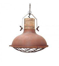 LEF Collections Hanglamp Grid Oranje/bruin Metaal Hout 52x52x48cm    Wonenmetlef.nl