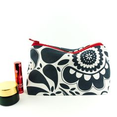 Large Makeup Bag in Monochrome Paisley Modern Retro Fabric £16.00