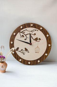 Valentine gift Home decor Bird Wood Wall Clock  Love gift birds couple Cage on tree home decor love symbol