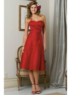 Dupioni Strapless Sweetheart Knee-Length Bridesmaid Dress