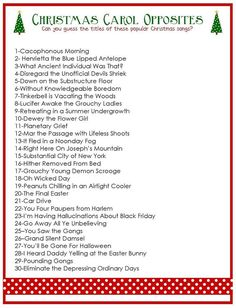 Bring this free printable Christmas Carol Opposites Game to your next Christmas party and watch the fun unfold. : Bring this free printable Christmas Carol Opposites Game to your next Christmas party and watch the fun unfold. Xmas Games, Holiday Games, Holiday Fun, Holiday Trivia, Christmas Song Trivia, Holiday Parties, Holiday Ideas, Christmas Playlist, Christmas Program