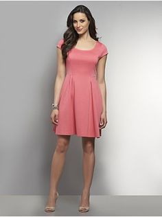 Ponte Knit Fit & Flare Dress - New York & Company