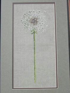 "Dandelion cross stitch...I would stitch underneath ""make a wish"""
