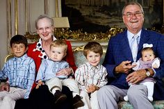 mcqueenkate:  Queen Margrethe and Prince Henrik of Denmark shared a photo with their grandchildren in honor of their 40th wedding anniversary, 2007-Prince Nikolai, Prince Christian, Prince Felix and baby Princess Isabella.