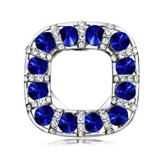 Square Scarf Clip Brooches Dual Use Sapphire Crystal Brooch Pin Silver