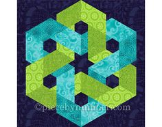 The Hexagonia quilt block pattern has detailed paper piecing foundations and complete instructions for the two variations shown - a square block and a hexagon. The patterns as provided create 12 (30.5cm) finished size blocks, readily resizable via the handy percentages chart included. With its traditional square format, the Hexagonia Square block is easily used in many types of quilting projects. Using the Hexagonia Hexagon block is a bit more challenging, but more creatively inspiring! A…