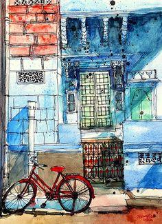 Urban Sketchers: The Bicycles of Bhavnagar