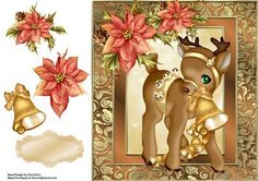 Beautiful Gold Reindeer with Poinsetta 8x8 on Craftsuprint designed by Amy Perry - Beautiful Gold Reindeer With Poinsetta 8x8 in lovely gold shimmer frame with decoupage and matching blank tag - Now available for download!