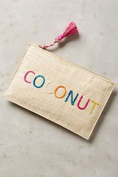 Embroidered Coconut Pouch #anthropologie