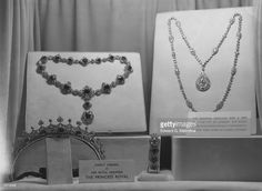 Items of jewellery belonging to the Princess Royal, Mary Victoria Alexandra Alice, Countess of Harewood, on loan to a jewellery exhibition held at the Dorchester Hotel, London, as part of the Jewel Ball. The diamond necklace was a gift from the City of London and the other three pieces were handed down from Queen Victoria.