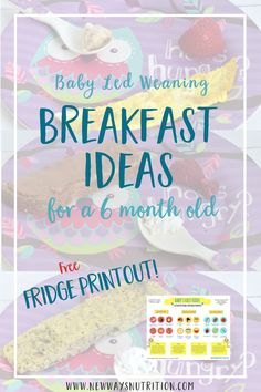 Looking for some ideas for food to feed your baby? Here are some ideas to help you start solid foods, plus a free printable to make meals quick, easy, and healthy! Toddler Nutrition, Nutrition Month, Nutrition Plans, Nutrition Tips, Toddler Food, Baby Led Weaning Breakfast, Baby Breakfast, Breakfast Meals, Old Recipes