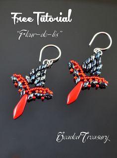 """FLEUR-DE-LIS"" beadwoven earrings FREE TUTORIAL © 2015 by Iulia Postică from BeadedTreasury.com"