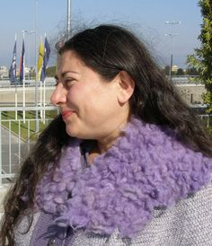 LILAC FLEECE COLAR  felted scarf with natural wool locks by LanAArt