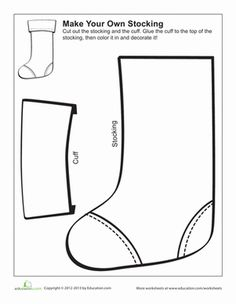 Christmas Preschool Paper Projects Holiday Worksheets: Make Your Own Christmas Stocking