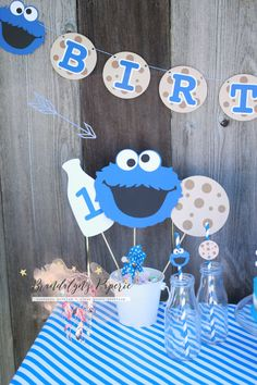 Cookie Monster centerpieces, Cookie Monster Milk and cookies centerpieces Large or Small