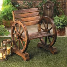 Buy Rustic Wood Wooden Wagon Wheel Outdoor Garden Patio Furniture Chair Country Yard by Acohotte Rustic Chair, Rustic Furniture, Rustic Wood, Garden Furniture, Outdoor Furniture, Porch Furniture, Antique Furniture, Modern Furniture, Furniture Design