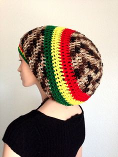 806f5aae704 Large XL Crochet Dreadlocks Rasta Tam by Africancrab on Etsy