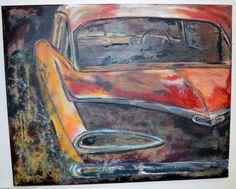 Acrylic on canvas - Inez Ribeiro Abandoned cars  Mixed media