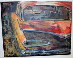 Acrylic on canvas - Inez Ribeiro Abandoned cars  Mixed media