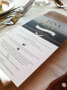 custom wedding menu designed with a photo of our client's happy place - their cottage - as the background