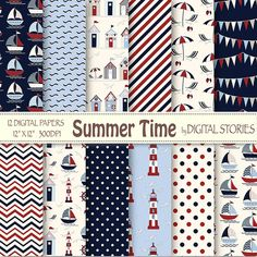 Nautical Digital Papers SUMMER TIME Navy Summer by DigitalStories, €3.20