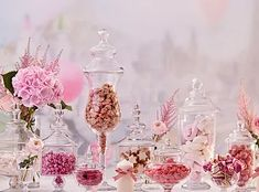 Pink Candy Bar at Le Tréport in Mississauga Pink Candy Buffet, Wedding Candy Table, Bar A Bonbon, Magical Wedding, Celebrity Weddings, Celebration, Buffet Ideas, Sweet, Gummi Candy