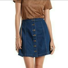 MDW SALEDenim Button-Up Skirt Beautiful burton up denim skirt Says size 5 but fits more like a 9 9/10 condition    DISCLAIMER: BRAND LISTED IS NOT ORIGINAL BRAND! BRAND LISTED IS ONLY FOR EXPOSURE! Zara Skirts Mini