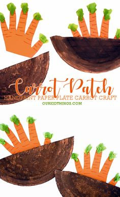Handprint Carrot Patch Craft There's nothing sweeter than handprint crafts. This Easter, pull up the sweetest carrots in the patch with our Paper Plate Handprint Carrot Patch Craft! Easter Crafts For Kids, Summer Crafts, Toddler Crafts, Garden Crafts For Kids, Paper Plate Crafts, Paper Plates, Carrot Craft, Vegetable Crafts, Diy Ostern