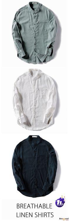 US$24.9 + Free Shipping. Mens Shirts, Linen Shirts, Breathable Shirts, Solid Color Shirts, Fashion Shirts, Autumn Shirts, Long Sleeve Shirts, Casual Shirts. Color: White, Navy Blue, Dark Green. Meet Your New Style!