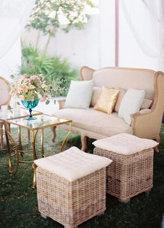 Wicker stools topped with tufted pillows contribute to the rustic glam charm of this lounge space. 10 Lounge Areas That Will Totally Make Your Wedding