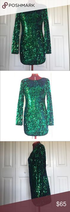 Privy Sequin Dress Privy Sequin Dress. Size Large. Preowned in great condition. No known tears or stains. The sequins are in great condition. The colors are green but it depends on how the light hits the dress it shows blue and purple. Stunning dress. Comes from smoke free and clean home. Privy Dresses Mini