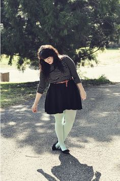 new new new Green Tights, Black Tights, Black Tops, Skater Skirt, Forever 21, Ballet Skirt, Casual, Skirts, How To Wear