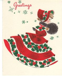 Vintage Christmas Card Woman in Bonnet and Muff Holly Girl Norcross | eBay