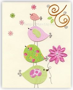 Nursery wall art Baby girl room Decor birdsFour by DesignByMaya, $17.00