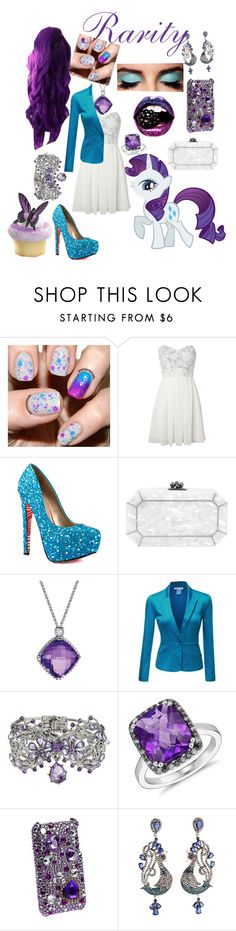 """""""My Little Pony: Rarity"""" by charity-leep ❤ liked on Polyvore featuring INDIE HAIR, TFNC, Lime Crime, TaylorSays, Edie Parker, David Yurman, Doublju, Betsey Johnson, Blue Nile and Paul Brodie"""